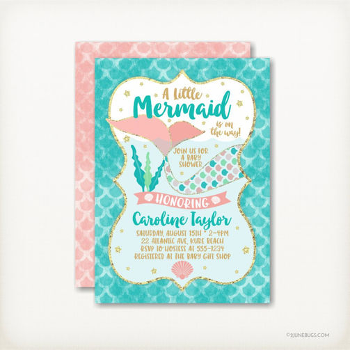 Coral and Teal Mermaid Baby Shower