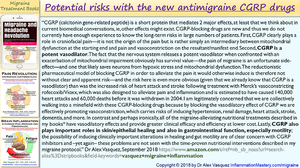 Potential risks with the new antimigrain