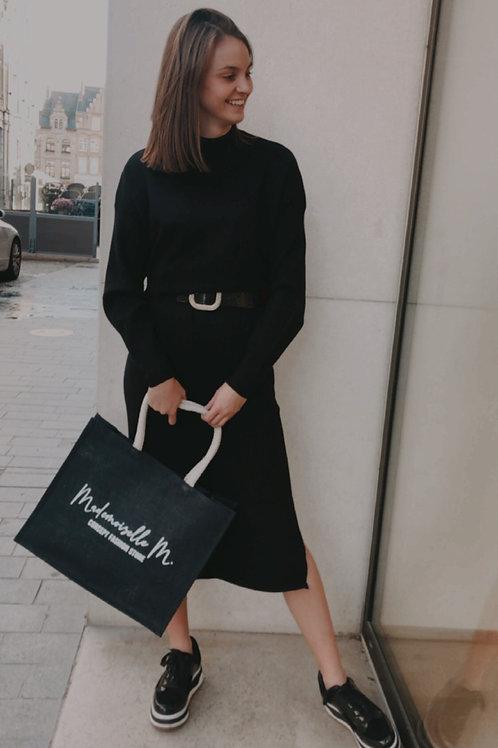 Sweaterkleed halflang zwart - 70938