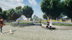 The entrance into Chelsea Waterside Park, Phase 2 highlights the gardenesque appeal of the new space