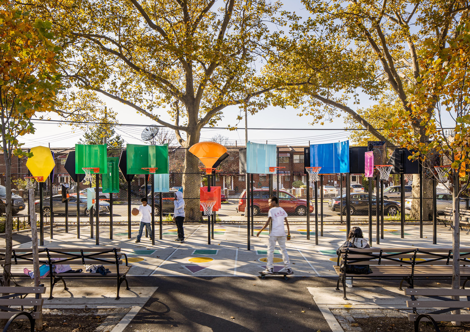 The Brownsville park offers first-of-its-kind play equipment for New Yorkers. An accessible basketball circuit provides non-conventional backboards to create an inclusionary game for participants of all ages, physical, and mental abilities.