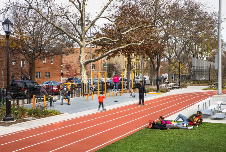 A critical objective for the southern parcel was to provide a varied assortment of inclusive athletic programming. Strategically-placed fitness areas with strength training equipment are placed around the track to provide balance to cardiovascular workouts.