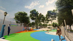 View from the southern end of the Chelsea Waterside Park, Phase 2 large dog run illustrates a vibran