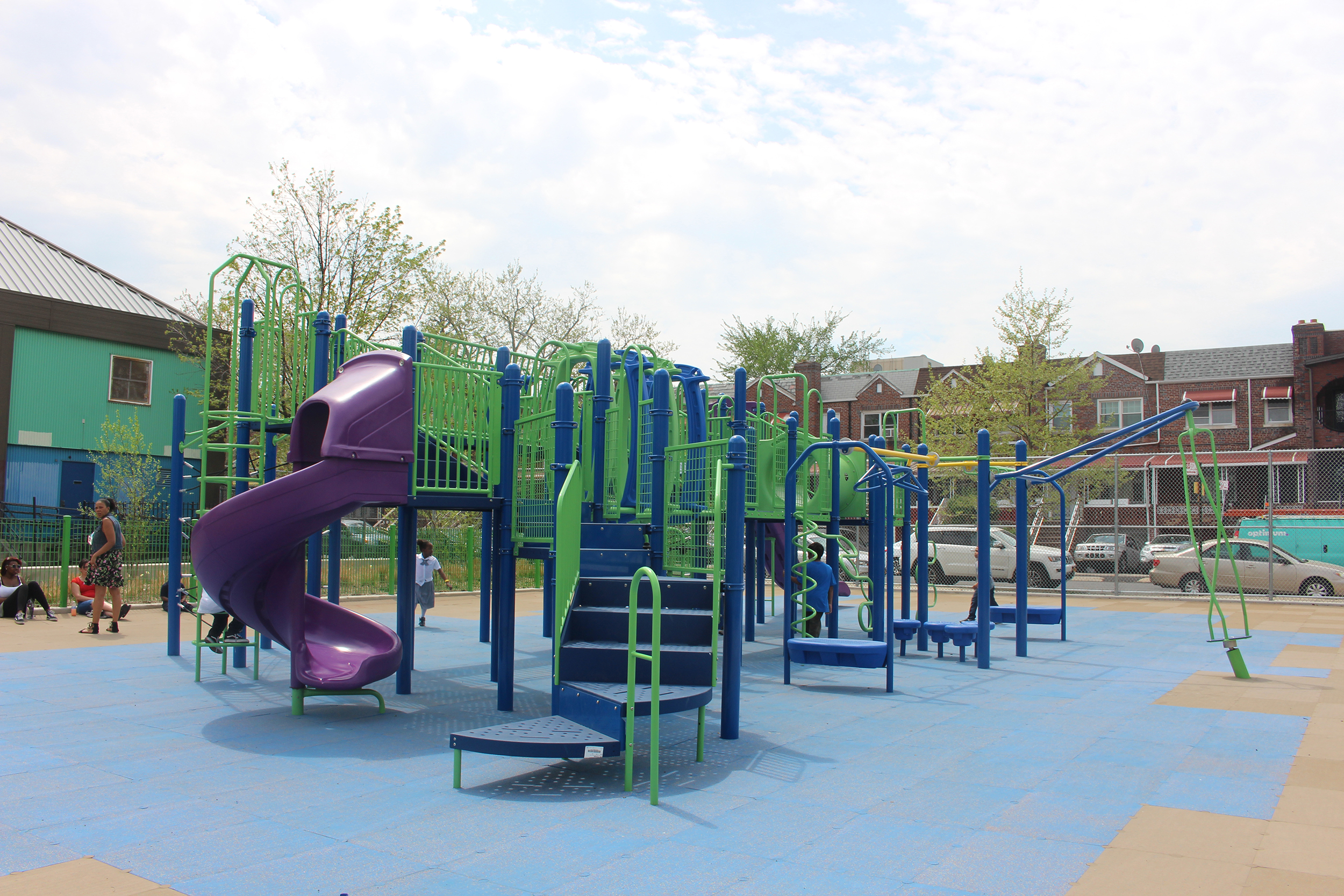 Purple, Green, and Blue Play Equipment at PS 235K