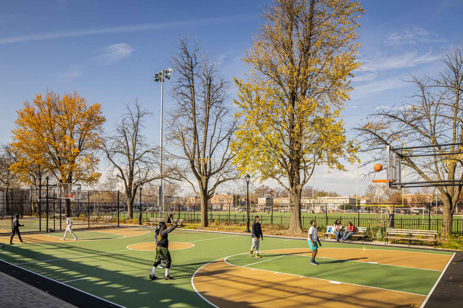 A new colorful basketball court is located in the Northern Parcel of Betsy Head Park.