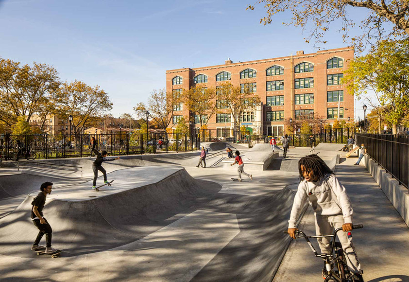 ABB collaborated with Spohn Ranch, an award-winning skate park design firm, to create the sunken plaza-style skate park for skateboarders and bmx bike enthusiasts. The popular spot offers a local destination for Brooklyners, who prior to the park opening, would have to travel to Williamsburg or the Bronx for a comparable experience.