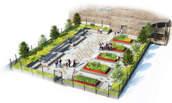 Rendered View of PS 217M Green Roof and Amphitheater