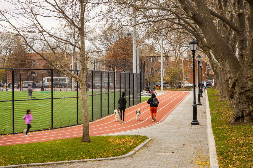 This four-lane track offers cardiovascular opporunities to complement the nearby fitness areas.
