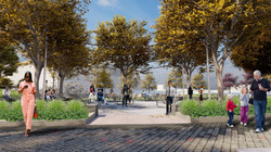 View looking into the new Chelsea Waterside Park, Phase 2 picnic area from across the existing playg