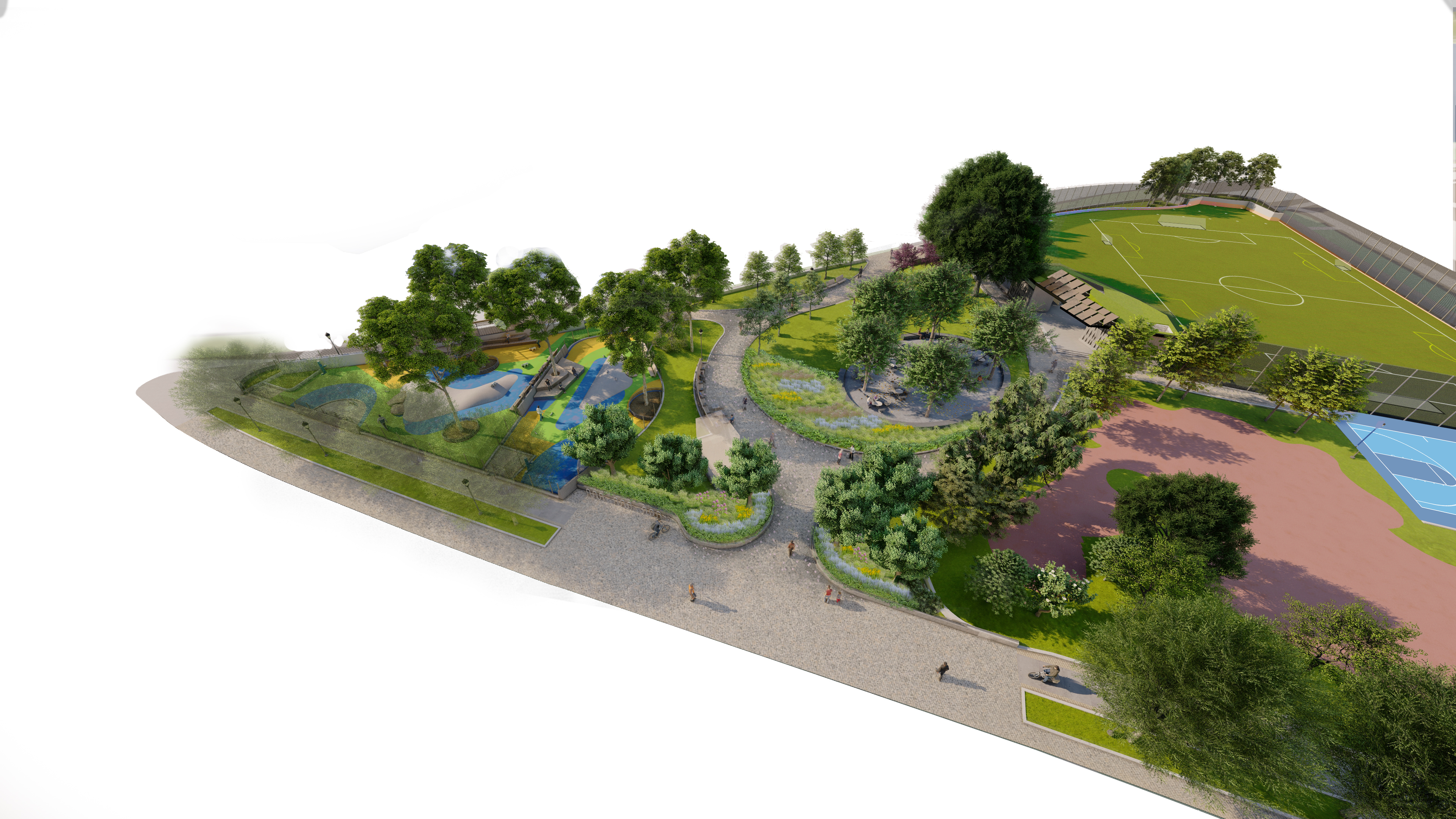 Rendered view of Chelsea Waterside Park, Phase 2 Aerial Shows the extents of the project from the so