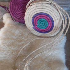 2 Hand-woven Round Rattan Bags