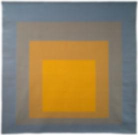 Josef ALBERS 4 carrés, bleu gris ochre jaune1968 tapestry 170.0 x 170.0 cm Monash Gallery of Art,