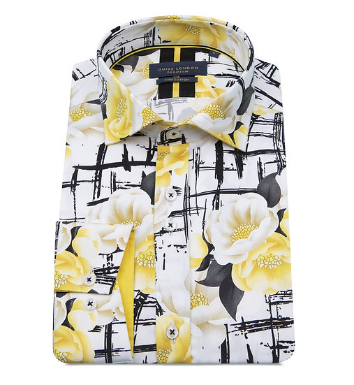 Oriental style yellow flower print