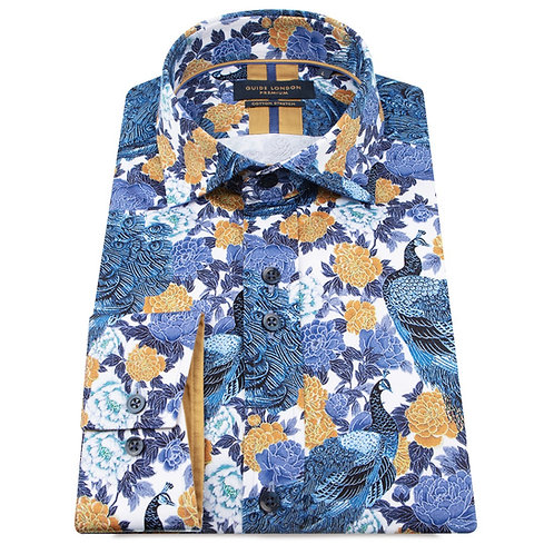 Peacock - Blue Printed Long Sleeve Shirt