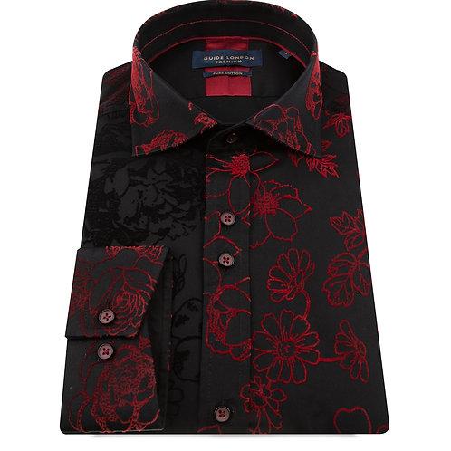 Black Two Tone Flock Long Sleeve Shirt