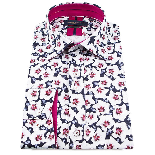 Navy With White Flower Long Sleeve Shirt