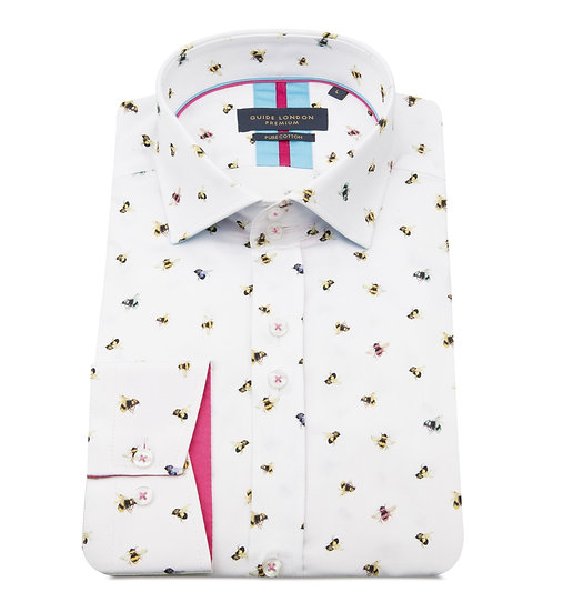 White Bee Print Shirt