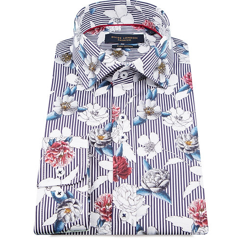 Striped + Flower Printed Long Sleeve Shirt