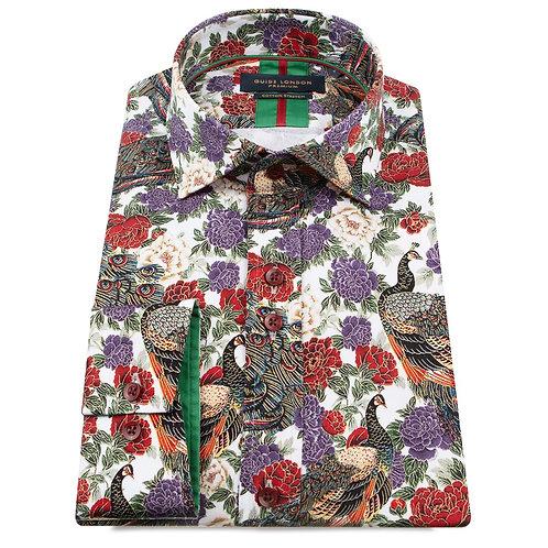 Peacock - Red Printed Long Sleeve Shirt