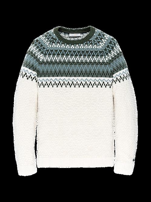 Cotton jacquard knit jumper