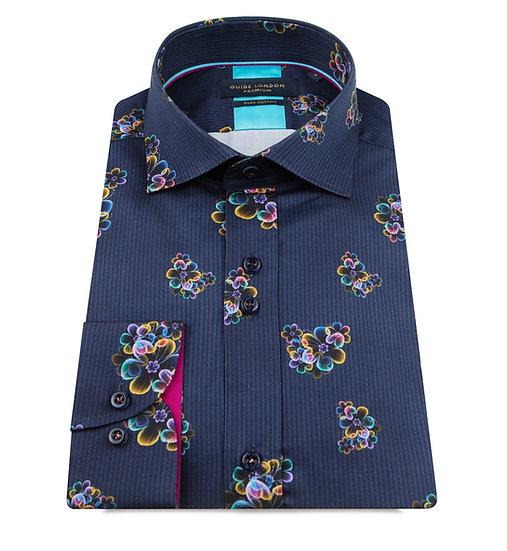 Navy Fluoro Print Shirt