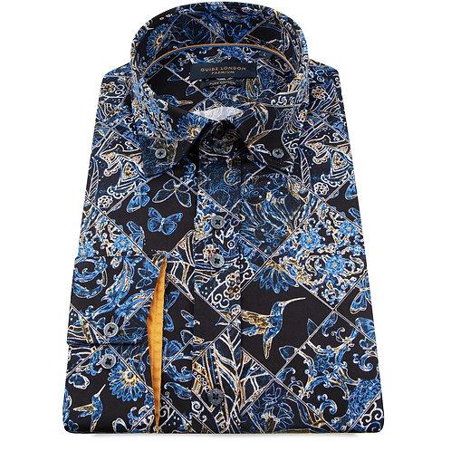 Navy Mosaic Print Long Sleeve Shirt