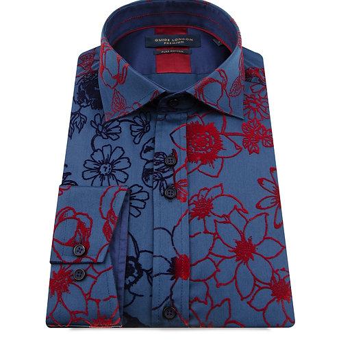Navy Two Tone Flock Long Sleeve Shirt
