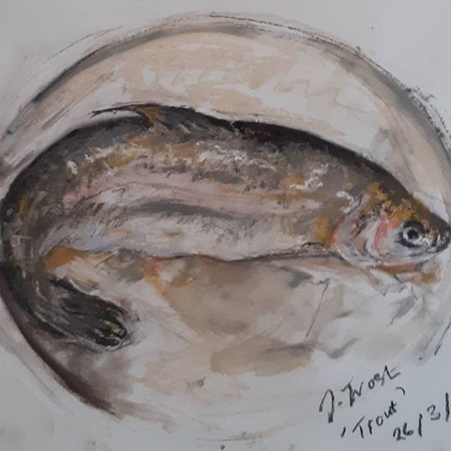 """""""Trout""""30 x 26 cmUnison paste"""