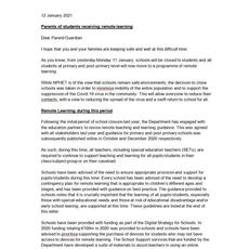 Letter to Parents 12th Jan '21