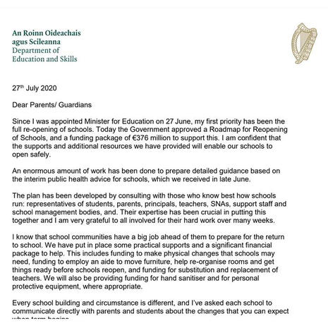 Letter to Parents from Minister for Education