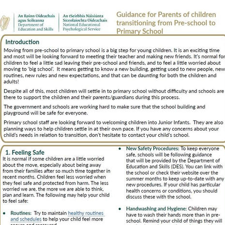Guidance for Parents (Pre-school to Primary)