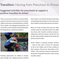 Transition: Moving from Preschool to Primary