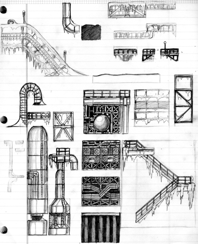 Raw Refinery Zone - Tile set Sketch
