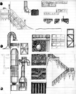 Raw Refinery Zone - Tile set Sketch