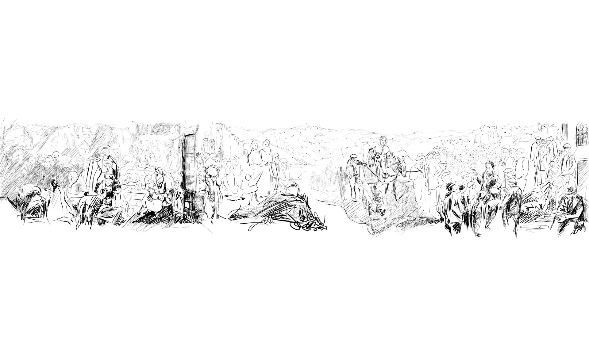 bozzetto di sintesi di Lucania 61di Carlo Levi. Elaborato di G.Longo