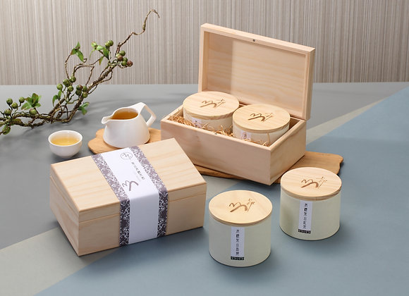 有機梨山烏龍茶原木禮盒組(75gX2罐裝) Lishan Organic Tea Wooden gift set(Wt.75gX2/bottle)