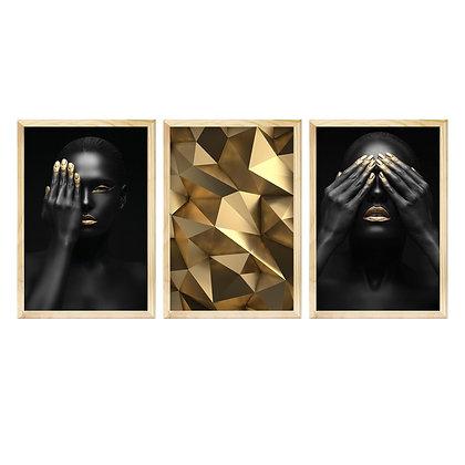 Trio de Quadros Moldura Pinus - Noite Dourada
