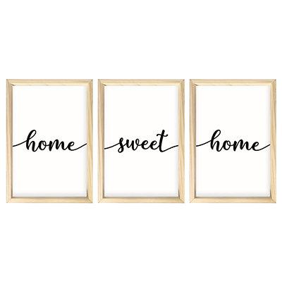 Kit 03 Quadros 30x40cm - Home Sweet Home