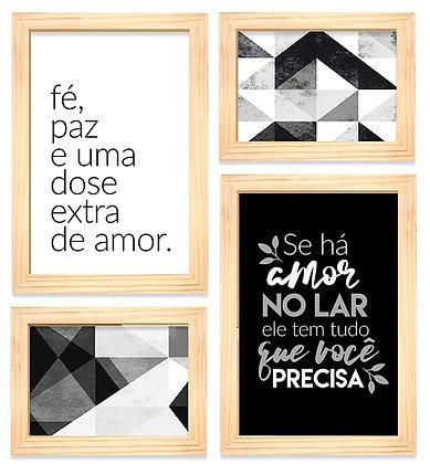 Kit 04 Quadros - Amor Extra