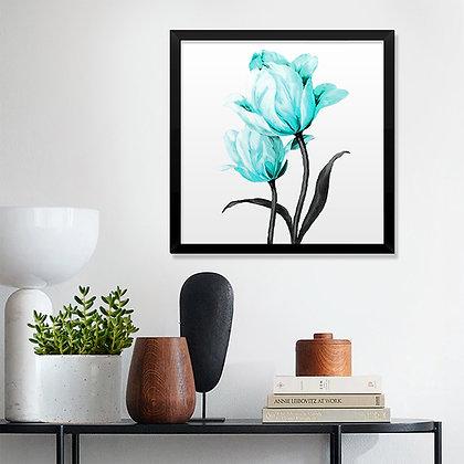Quadro Flores Turquesa
