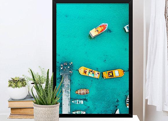 Quadro Barcos no Mar Azul
