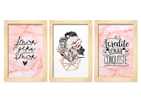 Kit 03 Quadros - Amor Rose Gold