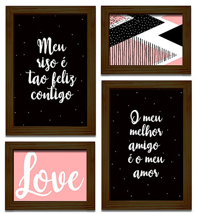 Kit 04 Quadros - Love