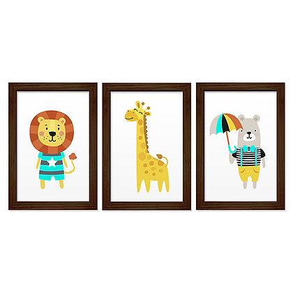 Kit 03 Quadros - Girafa