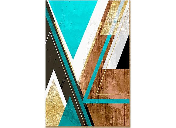 Quadro - Textura Triangular Turquesa - 549