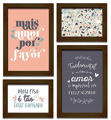 Kit 04 Quadros - Mais Amor