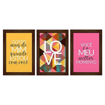 Kit 03 Quadros - Love