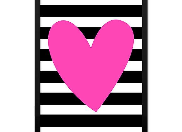 Quadro Listras Coração Rosa