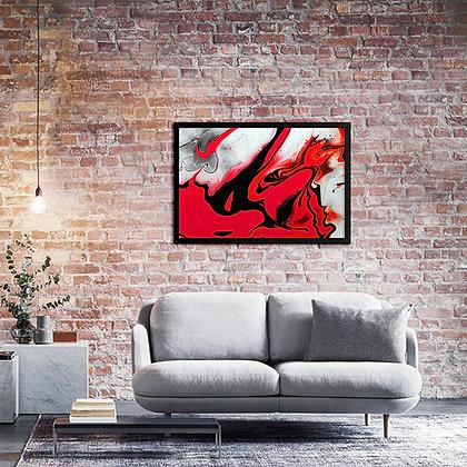 Quadro Aquarela Vermelha