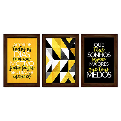 Kit 03 Quadros - Incrível Amarelo